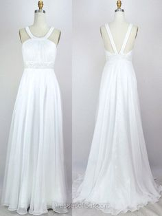 Open Back Prom Dresses, Chiffon Prom Dress, White Evening Dresses, Aline Party Dresses, Sweep Train Formal Dresses