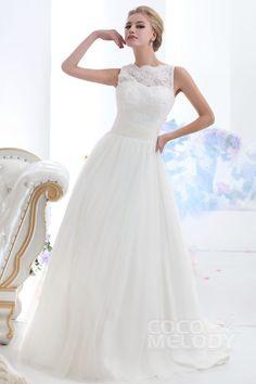 Trendy A-Line Illusion Neckline Court Train Tulle Wedding Dress CWXF13001