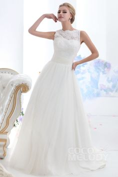 Trendy A-Line Illusion Neckline Court Train Tulle Wedding Dress CWXF13001
