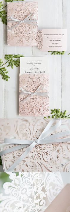 elegant blush pink laser cut wedding invitations with grey band SWWS034