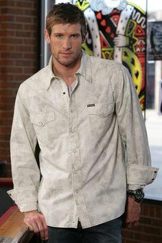 Mens Western Snap Shirts :Tan Poplin Snap Shirt - Southern Thread On Line Store