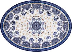 Amazon.com | Bico Blue Talavera Ceramic 16 inch Oval Platter, Microwave & Dishwasher Safe: Platters