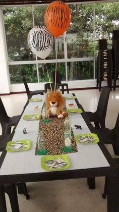 Fiesta Safari, jungla, decoración , centro de mesa. eyra_s@hotmail.com