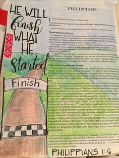 Philippians He who began a good work in you will carry it on to completion until the day of Christ Jesus. Bible journaling by Julie Williams Scripture Art, Bible Art, Bible Verses, Scriptures, Bible Drawing, Bible Doodling, Bible For Kids, My Bible, Jesus Bible
