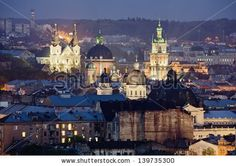Night scenery of Lvov - Historic center of Lvov city close-up - stock photo