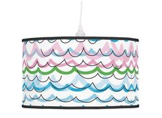 Fun lampshade childrens pendant lamp shade striped table lamp stand, colorful waves shade, abstract lamp decor, hanging drum shade