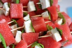 Watermelon, Feta Cheese & Mint Leaves drizzled with honey. Sweet, refreshing appetizer or dessert. Easy enough for a B-B-Q, elegant enough for a wedding.