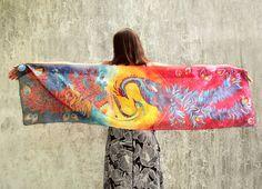 #phoenix #silk #scarf hand #painted by #minkulul