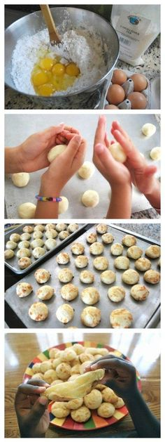 Pao de Queijo Recipe: Cheese Rolls This recipe for Brazilian pao de queijo is out of this world! Chewy cheese bread that is simple to make, and always a crowd pleaser. All of my kids love to make AND eat this.Simple English Simple English may refer to: Vegetarian Meals For Kids, Kids Cooking Recipes, Healthy Meals For Kids, Kids Meals, Kid Cooking, Kid Recipes, Whole30 Recipes, Vegetarian Recipes, Healthy Recipes