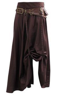 Geraffter Steampunk Rock mit Riemen Braun  Mittelalter Larp Vintage Skirt dress