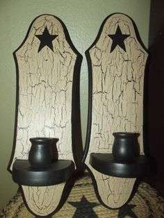 Primitive Crackle Painted Wooden Sconce Pair of 2 ~ Black Stars Country Decor