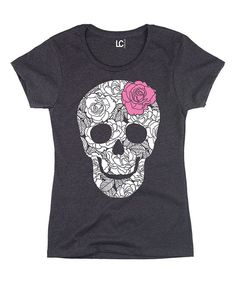 Heather Charcoal Skull Fitted Tee - Women