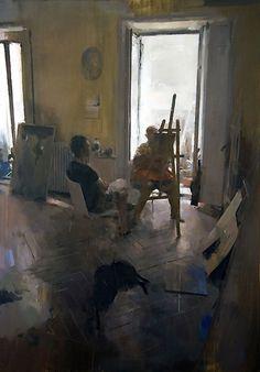 Carlos San Millán - Portrait session - Oil on wood 119 x 86 cm. Private collection.Carlos San Millán
