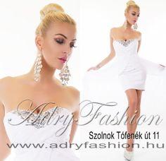 Muszlin szoknyás kő díszes fehér alkalmi női ruha  L-es