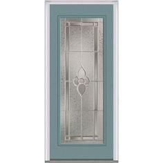 Milliken Millwork 33.5 in. x 81.75 in. Master Nouveau Decorative Glass Full Lite Painted Majestic Steel Exterior Door, Riverway