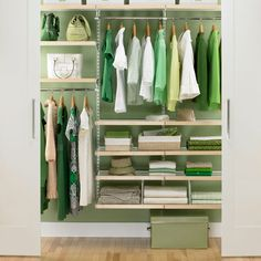Wish these weren't so dang expensive, but it gives a good idea for closet organization: Birch & White elfa Reach-In Closet Elfa Closet, Closet Shelves, Closet Storage, Hidden Storage, Small Closet Design, Closet Designs, Small Closets, Small Wardrobe, Reach In Closet