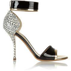 Nicholas Kirkwood Elaphe, metallic and patent-leather sandals ($825) ❤ liked on Polyvore