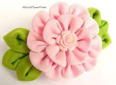Hecho a mano Kanzashi señoras mujeres grosgrain cinta francesa barrette-accesorios para el cabello en Reino Unido, envío fascinator de flor rosa en todo el mundo