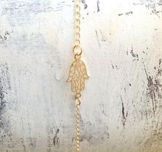 Hamsa anklet, anklet, gold anklet, gold hamsa, hamsa jewelry, delicate anklet, hamsa, luck jewelry, small bracelet, anklet  113-1 on Etsy, $23.00