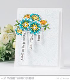 Springtime Blooms Stamp Set and Die-namics, Floral Fantasy Background, Interactive Oval Word Windows Die-namics - Vika Salmina #mftstamps