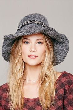 Square Face Shape: To the brim  Women with square, angular face shapes look lovely in wide-brimmed hats, which help soften a wide jawline. The irregular wire brim on this knitted style flatters your angles, and the ribbon trim adds a little femininity to boot.