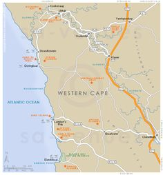 Olifants River Valley basic street map showing main roads and the location of attractions in and around Olifants River Valley, Western Cape . Baboon, Atlantic Ocean, Hiking Trails, Spring Flowers, West Coast, South Africa, Diy Crafts, River, Island