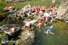 A fun pit stop on the Rogue River rafting trip for some swimming and relaxing! #Oregon #rafting