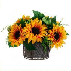 Sunflowers, Daisy and Fern Silk Flower Arrangement  -ARWF1283
