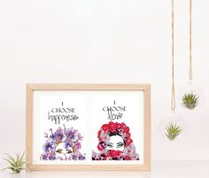 One set of two,Instant prints I choose Happiness  and Love Prints  - Instant Download Purple Orchids and Red Roses  Print I Choose Happiness Quotes, Purple Orchids, Choose Love, Lace Print, Red Roses, Ink, Frame, Happy, Prints
