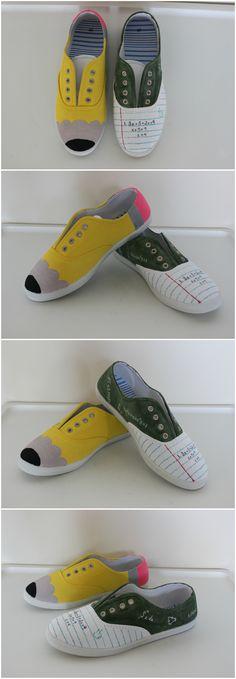 #Pencilshoes #papershoes #chalkboardshoes #mathshoes #looseleafshoes #diyshoes