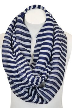 Navy Blue & White Stripe Infinity Scarf