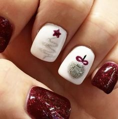 Winter nails Xmas nails Fun designs for manicures Mani/pedi xmas nail art - Nail Art Xmas Nail Art, Cute Christmas Nails, Holiday Nail Art, Xmas Nails, Winter Nail Art, Winter Nails, Fun Nails, Christmas Ideas, Red Christmas