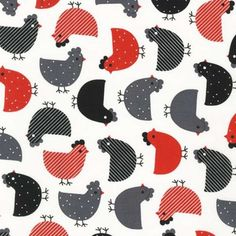 Robert Kaufman - Urban Zoologie Red Chickens - cotton fabric