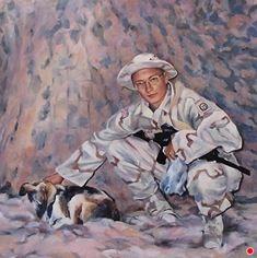Portrait of a Son Serving Overseas-Figurative by Joan Fullerton, Oil, 40 x 60 Abstract Landscape, Abstract Art, Pet Portraits, Portrait Paintings, Art Paintings, Art Themes, Military Art, Figure Painting, Figurative Art