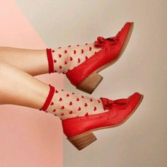 Hate the socks, of course, but the shoes are great Red Shoes, Sock Shoes, Cute Shoes, Me Too Shoes, Funky Shoes, Flat Shoes, Red Aesthetic, Look Chic, Pumps
