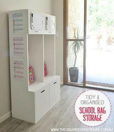 School bag storage - www.theorganisedhousewife.com.au