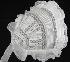 Maria Niforos - Fine Antique Lace, Linens & Textiles : Antique Christening Gowns & Children's Items # CI-108 Circa 1900 Christening Bonnet w/ Valencienne Lace & Pintucking