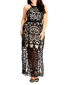 City Chic Burnout Baby Maxi Dress