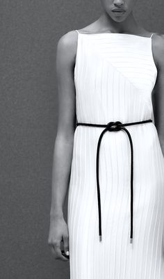Edun | Pre-Fall 2015 -- white dress & black rope bealt #style #fashion