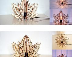 Weedow lamp plant lover eco friendly weed canabis, laser cut wood lamp