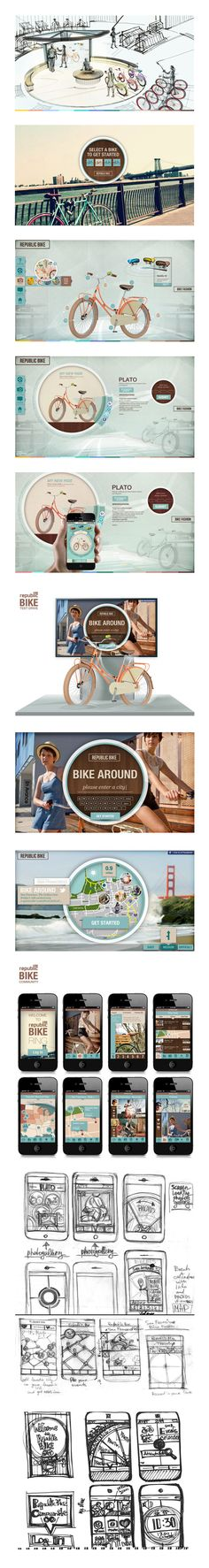 Republic Bike - Retail Store by Natalya Yampolsky, via Behance *** Buying in the future retail store is going to be a digital touch screen experience. It will offer a variety of interactive choices based on buyer's tastes and preferences. A customer is going to be able to build a bike using 3D interactive display with the real size bike...