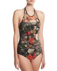 eaec7d8b95549 Fuzzi Floral Illusion Tulle High-Neck Halter One-Piece Swimsuit, Black and  Matching Items