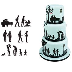 Family Silhouette Cutter Set by Patchwork Cutters. Create stunning cake side designs and toppers with this family themed Cutter / Embosser set, developed by Marion Frost. The set includes eleven designs in various sizes, ranging from a cu Silhouette Wedding Cake, Silhouette Cake, Silhouette Cutter, Birthday Cakes For Men, 90th Birthday Parties, Fondant Cakes, Cupcake Cakes, Baby Cakes, Latest Cake Design