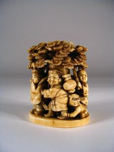 japanese okimono   Japanese Ivory Okimono of Processional With Oni by osanpo