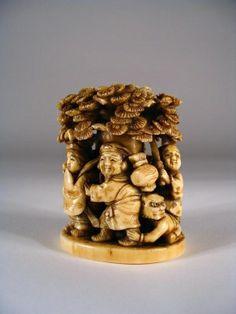 japanese okimono | Japanese Ivory Okimono of Processional With Oni by osanpo