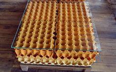 O designer Marcos Husky usou caixas de ovos para criar a mesa 100 ovos. Foto: Juliana Bianchi, iG São Paulo