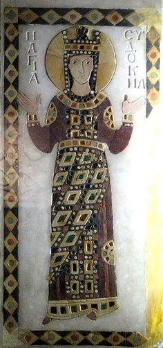 10th century Byzantine panel with Aelia Eudocia in pietra dura, a mosaic technique using polished stones to create decorative images - Costume: Lorum with segments over a tunica tularis