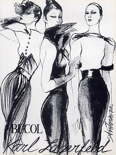 Karl Lagerfeld 1972 Antonio (Illustrator) Neyret Gloves & Textile Bucol