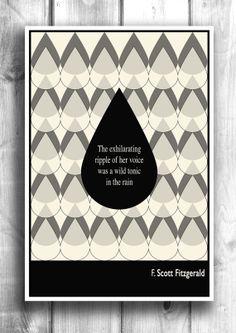 Literary Art, Illustration Art Print, Valentines Print, Wall Decor, Wall Hanging, F. Scott Fitzgerald Quote, Minimalist Poster, Typography