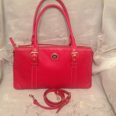 Dooney Bourke Hot Red Authentic Leather NWOT! Back-To-School/ Red leather , Dooney Bourke satchel ! New Without Tags ! Red/blue authentic label. Cell phone interior pocket and zipper pocket . Detachable shoulder strap . Cute for Summer. Dooney & Bourke Bags